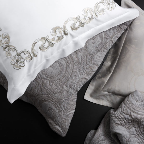 Forte dei Marmi Embroidery Shams by Dea Linens | Luxury Bedding
