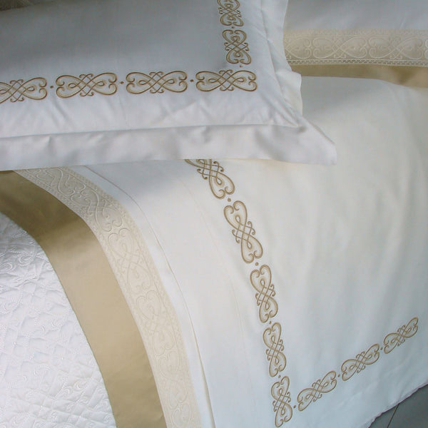 Gianna Embroidery Bedding | Dea Linens Sheet and Sham Detail