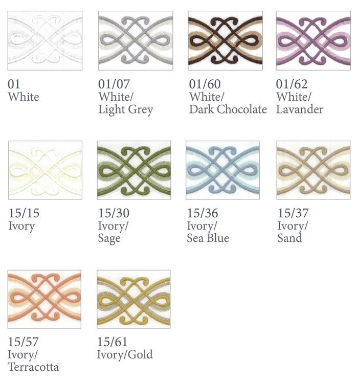 Gianna Embroidery Bedding | Dea Linens Swatch Color Chart