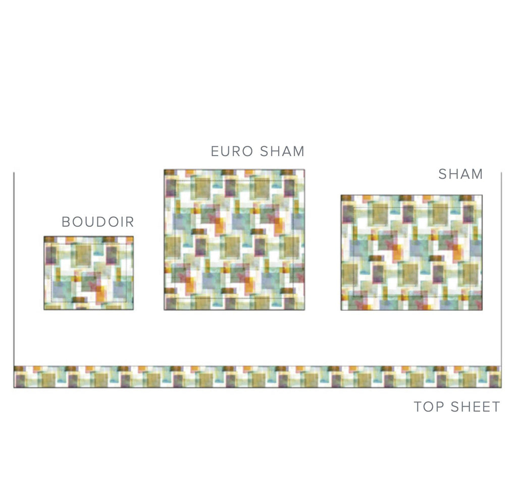 Dea Fine Linens - Murano Printed Bedding | Diagram of Shams and Flat Sheet