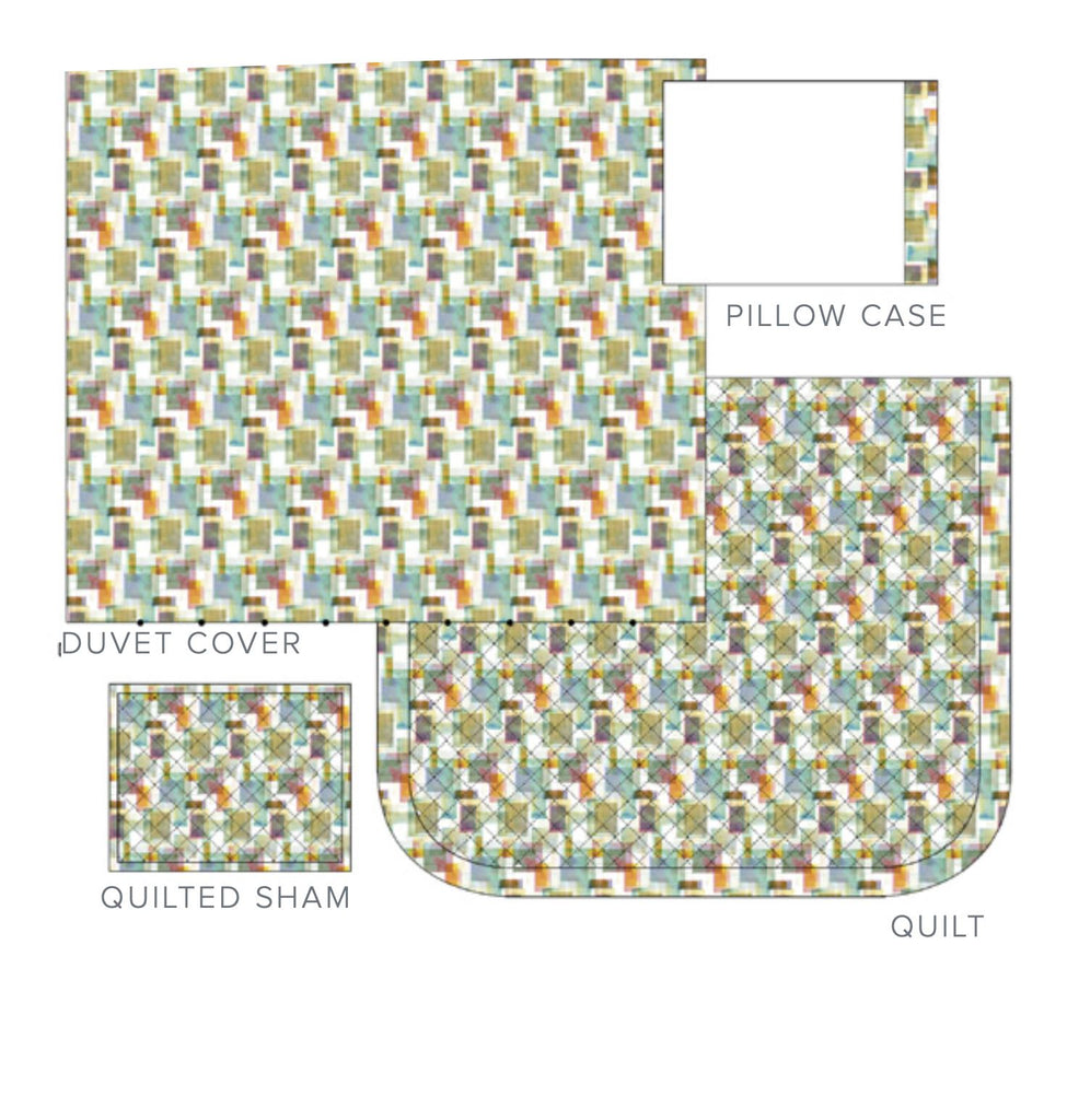 Dea Fine Linens - Murano Printed Bedding | Diagram of Duvet & Quilt