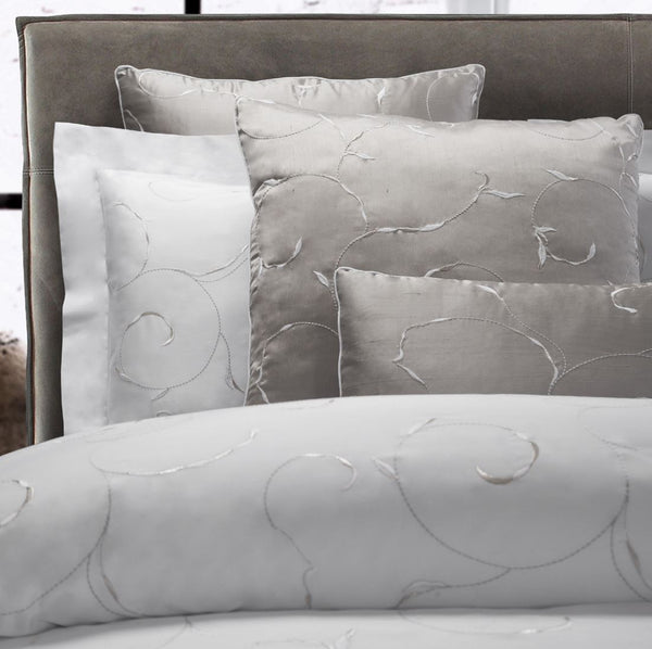 Argentario Embroidery Bedding | Dea Linens Embroidered Duvet and Sham
