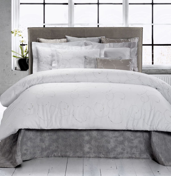 Argentario Embroidery Bedding | Dea Linens Duvet and Shams