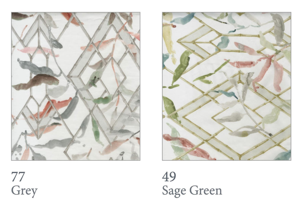 Gazebo Bedding Swatches - Grey and Sage Green| Dea at Fig Linens and Home