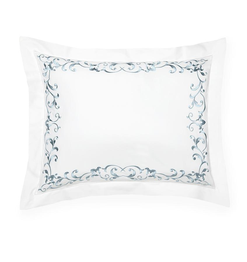 Fig Linens - Griante White and Storm Sham by Sferra
