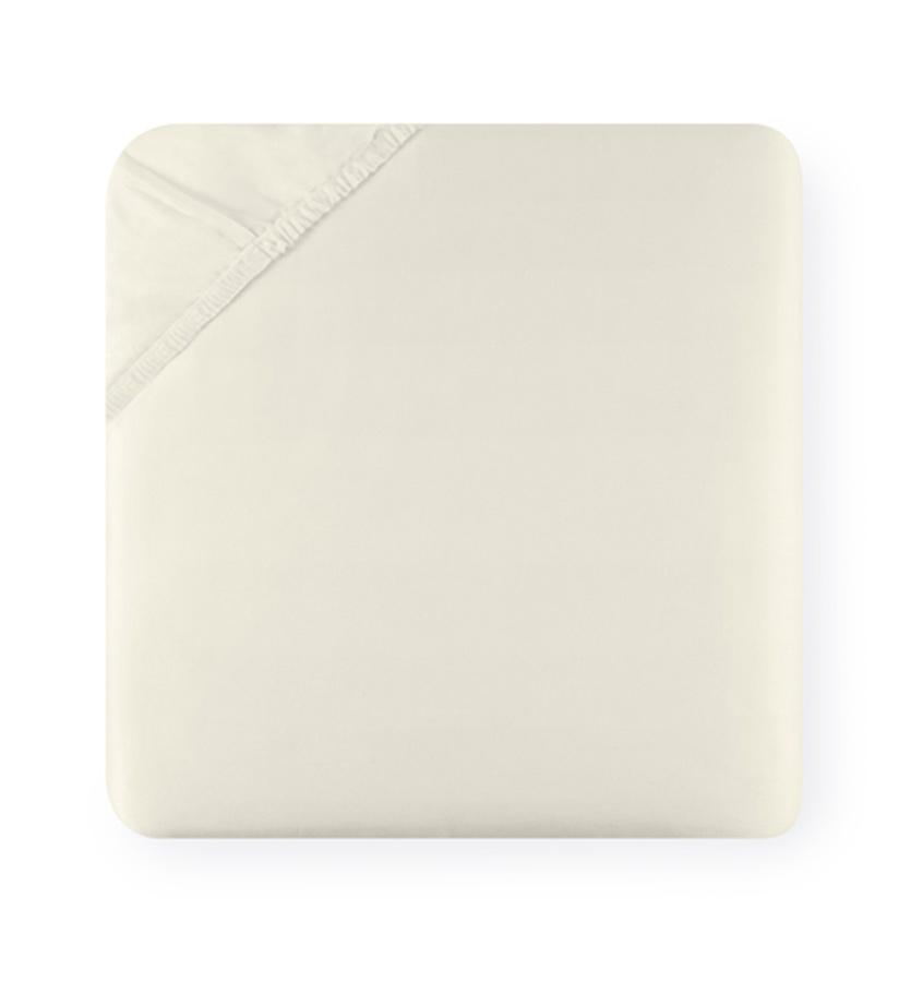 Diamante Bedding Collection by Sferra | Fig Linens - Ivory Fitted Sheet