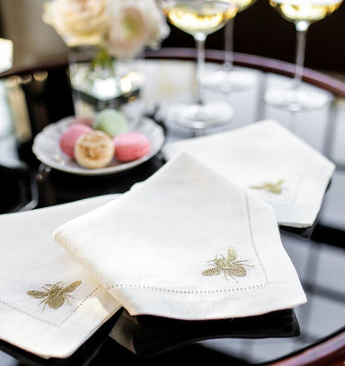 Sferra - Bombo White Linen Napkins with Gold Embroidery - Fig Linens