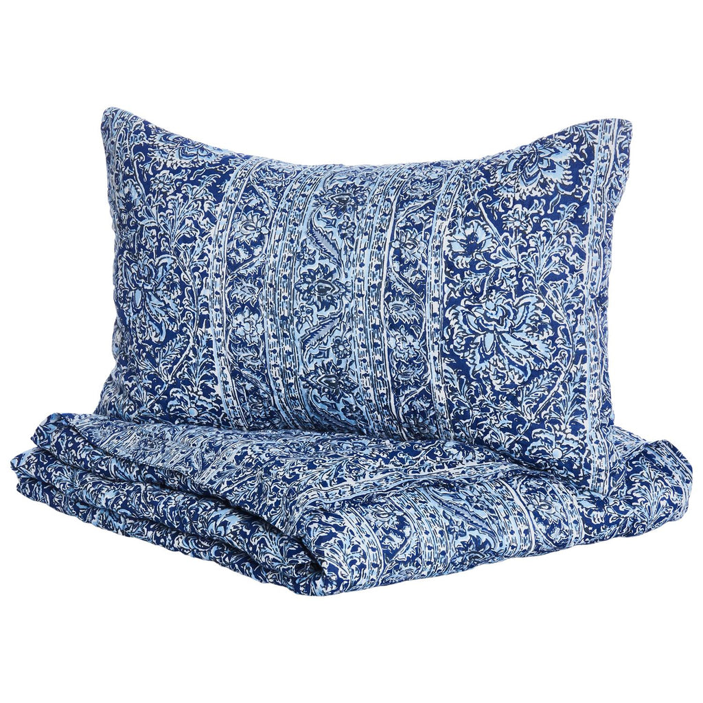 Calana Indigo Mini Blanket & Sham Set by John Robshaw | Fig Linens
