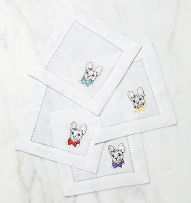 Cani French Bulldog Cocktail Napkins by Sferra - Set of 4 | Fig Linens