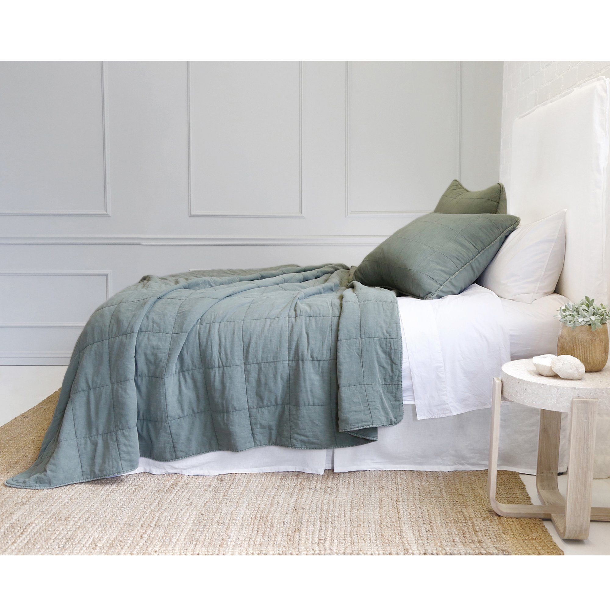 Fig Linens - Pom Pom at Home Bedding - Antwerp Moss Green Coverlet