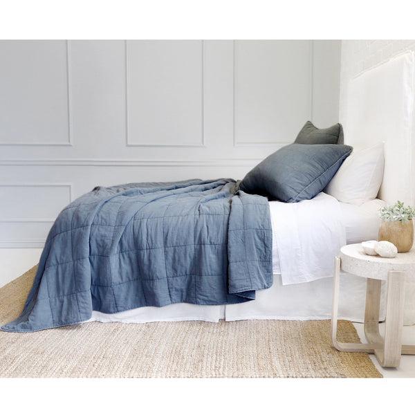 Fig Linens - Pom Pom at Home Bedding - Antwerp Navy Coverlet