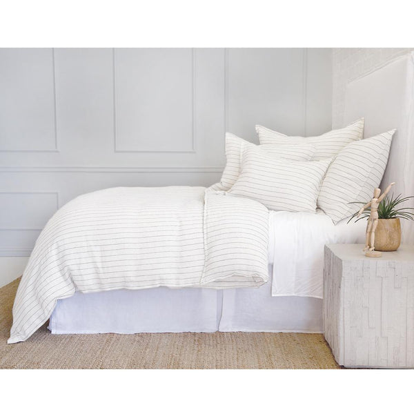 Fig Linens - Pom Pom at Home - Blake Cream and Grey Duvet Bedding collection