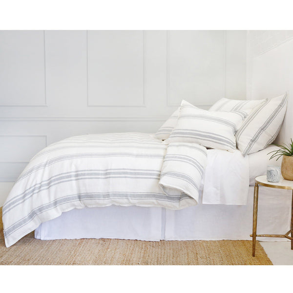 Fig Linens - Pom Pom at Home Bedding - Jackson Cream/Grey Linen Duvet and Shams