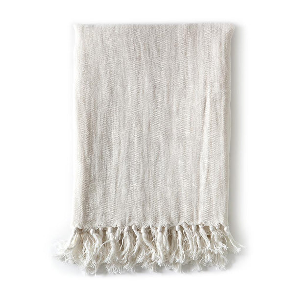 Fig Linens - Pom Pom at Home Bedding - Montauk Cream blanket and throw with fringe