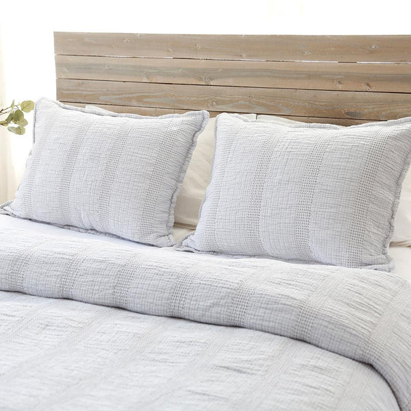 Fig Linens - Pom Pom at Home Soft Grey Coverlets and Shams - Nantucket Metlasse