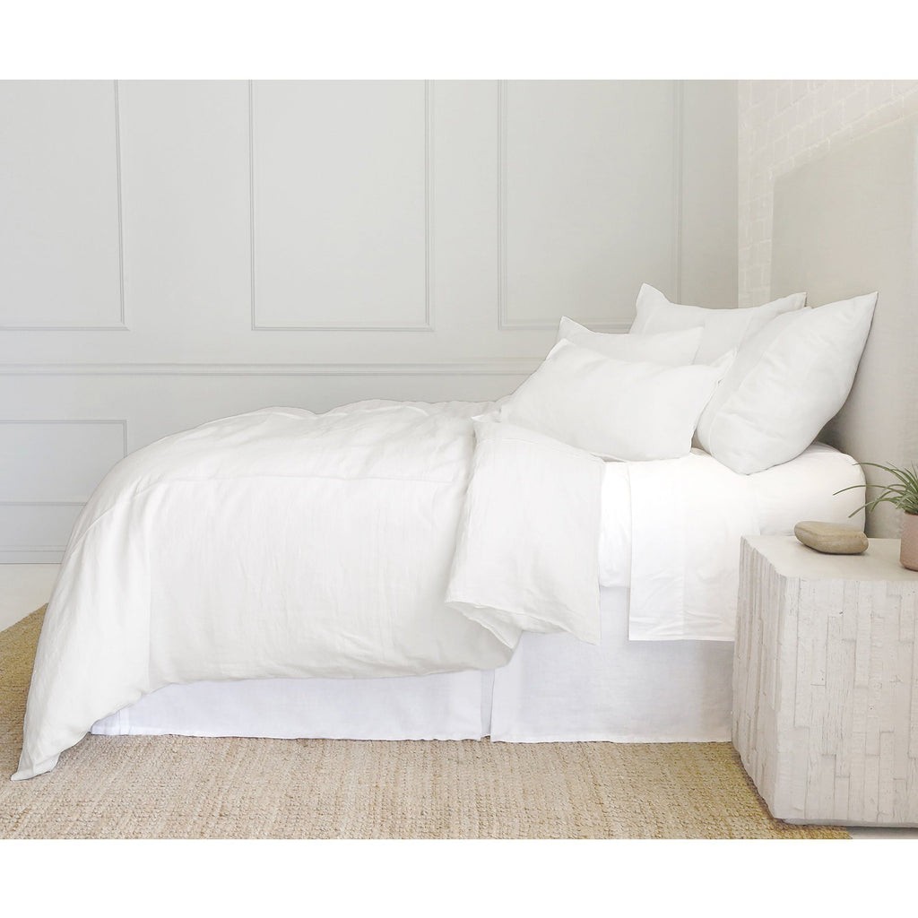 Fig Linens - Pom Pom at Home Bedding - Louwie - White linen duvet, pillowcase, sham