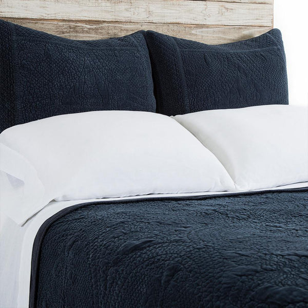 Fig Linens - Pom Pom at Home Bedding - Marseille Navy coverlet and large euro sham