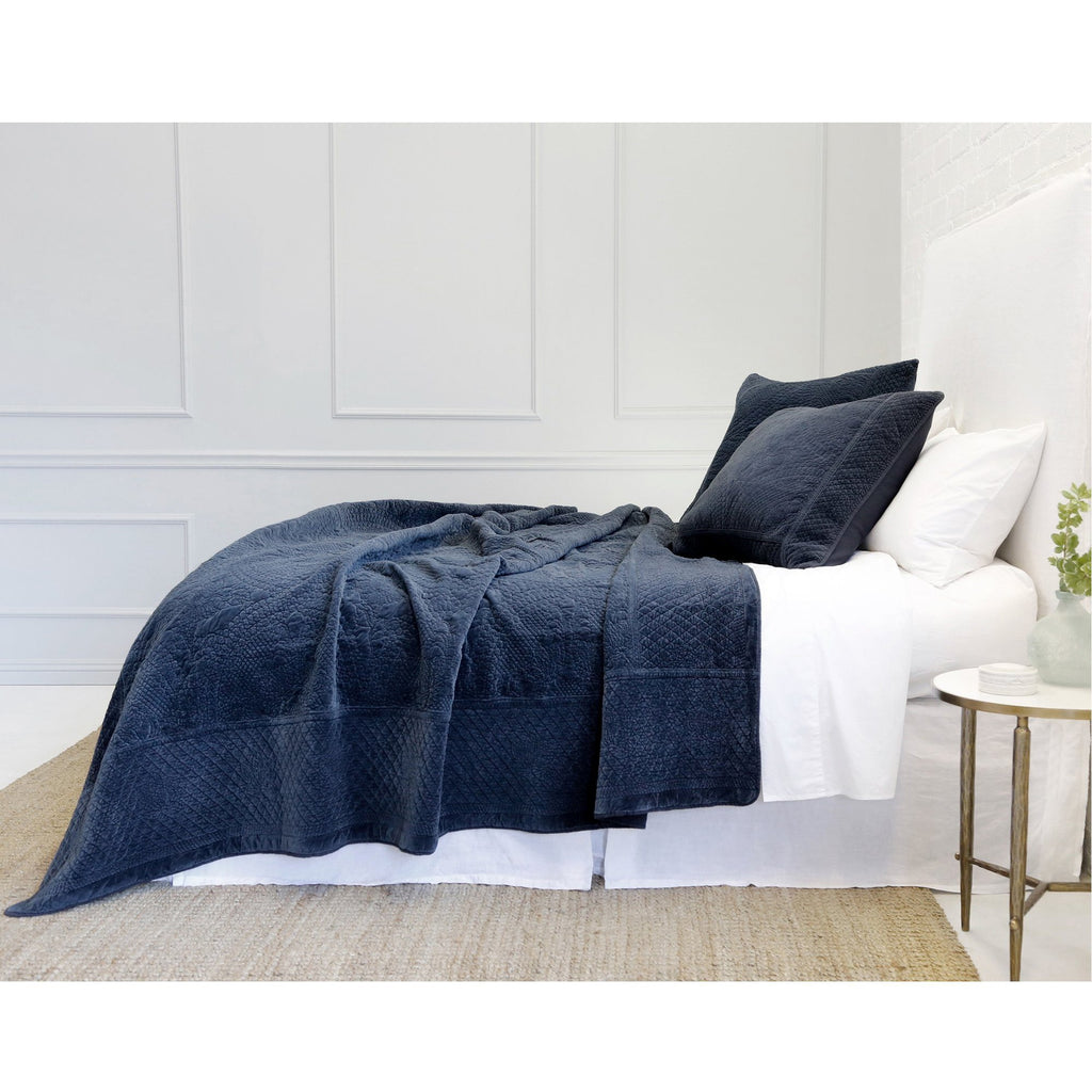 Fig Linens - Pom Pom at Home Bedding - Marseille Navy Coverlet and sham with quilted pattern