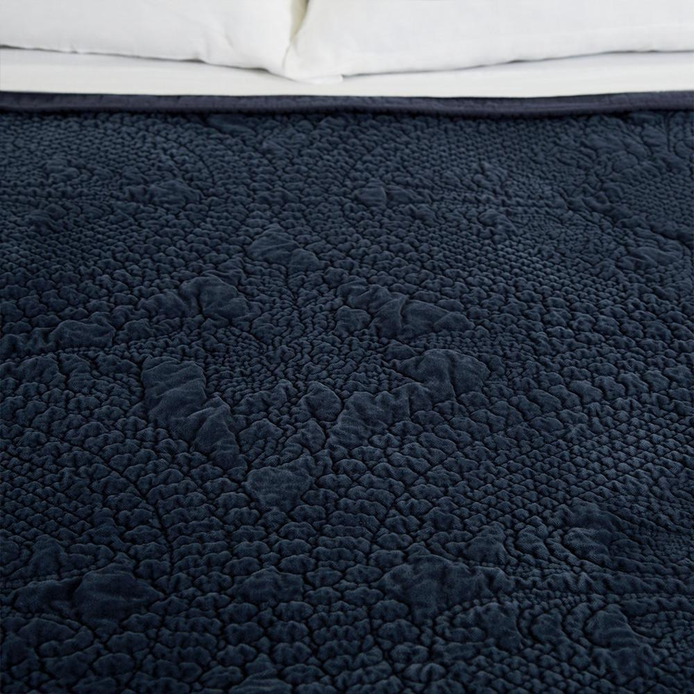 Fig Linens - Pom Pom at Home Bedding - Marseille Navy coverlet