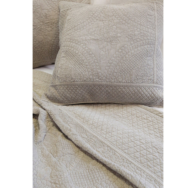 Fig Linens - Pom Pom at Home Bedding - Marseille Taupe Coverlet and Large Euro Sham