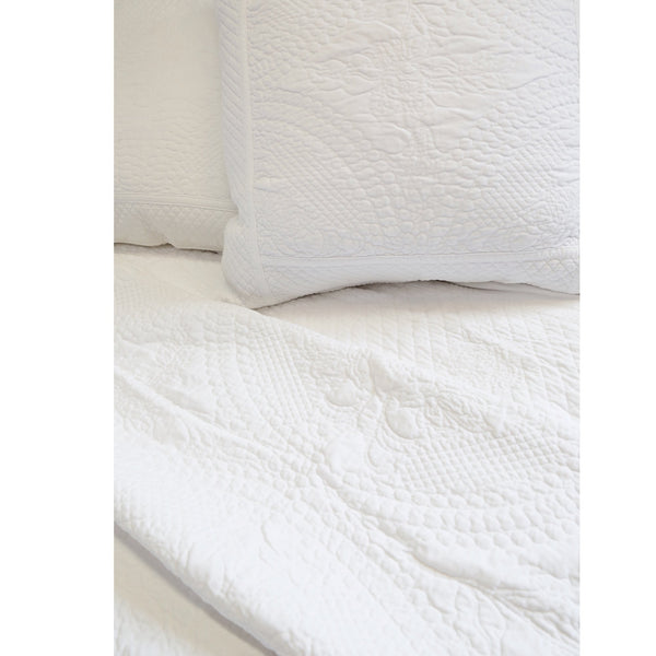 Fig Linens - Pom Pom at Home Marseille Bedding Collection - White coverlets and large euro sham