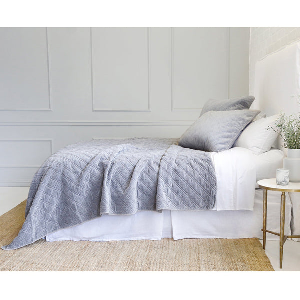 Fig Linens - Pom Pom at Home Ocean Blue Coverlet with Diamond Quilted Pattern