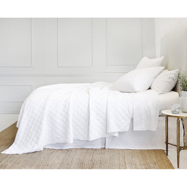 Fig Linens - Pom Pom at Home Bedding - Brussels White Coverlet and Shams