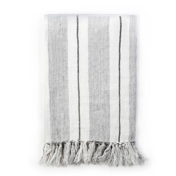 Pom Pom at Home - Laguna Grey & Natural Linen Blanket - Fig Linens