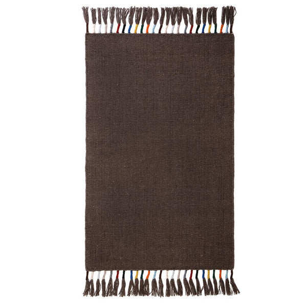 Fig Linens - Pom Pom at Home - Mocha brown rug with tassels