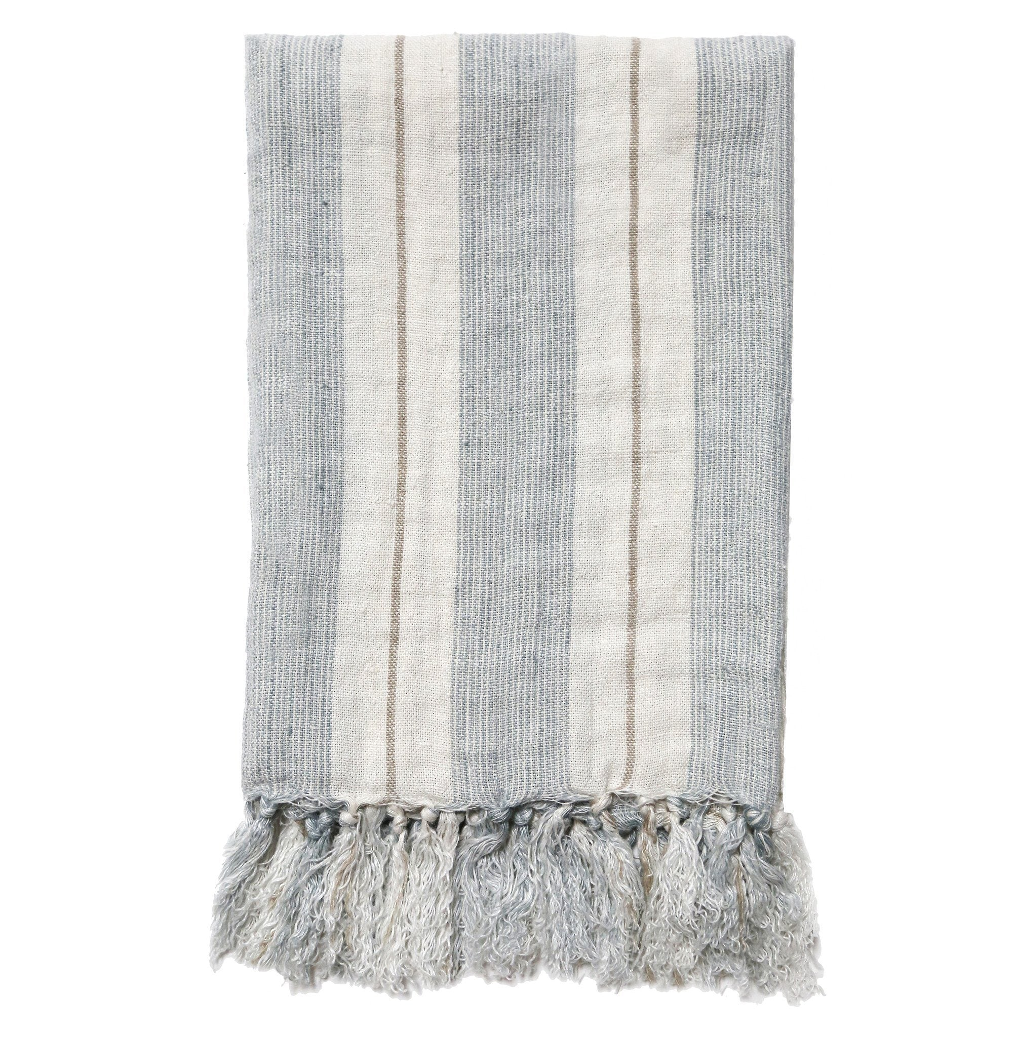 Pom Pom at Home - Laguna Ocean & Natural Linen Throw - Fig Linens