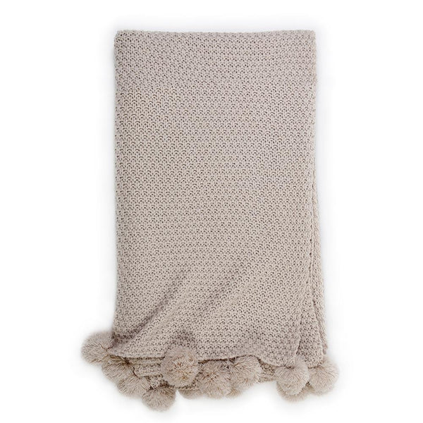 Pom Pom at Home - Riley Taupe Oversized Throw - Fig Linens