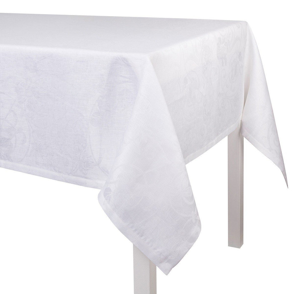 Le Jacquard Français Table Linen Tivoli in White Fig Linens tablecloth