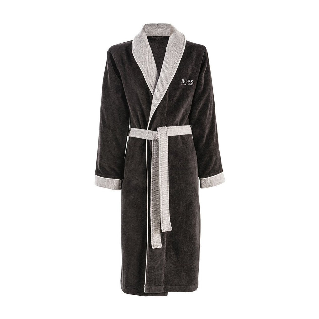 Lord Onyx Bathrobe by Hugo Boss | Fig Linens and Home - Black bathrobe