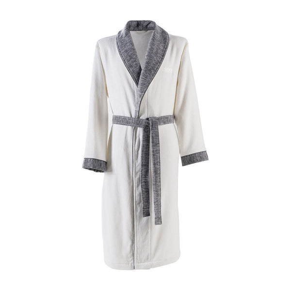 Lord Ice Bathrobe by Hugo Boss | Fig Linens and Home - White and gray bathrobe