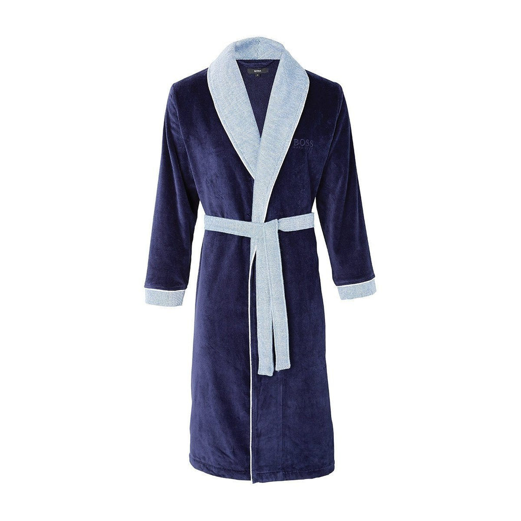 Lord Marine Navy Blue Bathrobe by Hugo Boss | Fig Linens and Home - Blue bathrobe