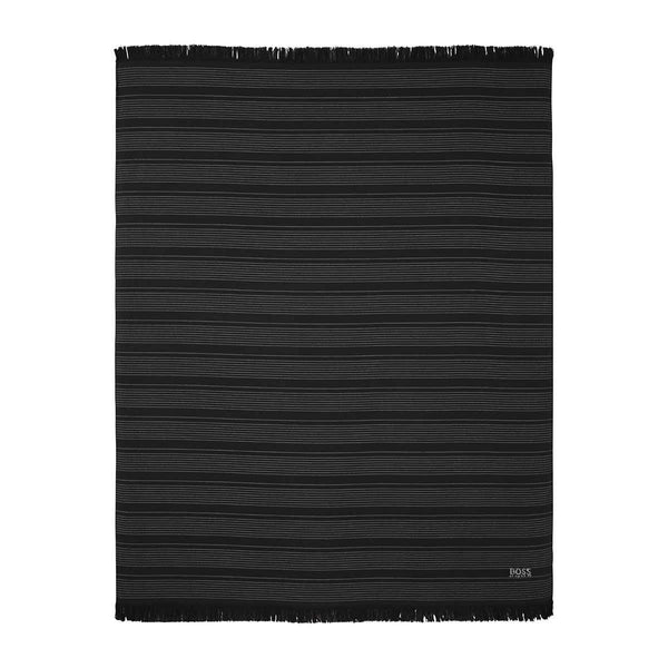 Wave Black Beach Towel by Hugo Boss | Fig Linens and Home - black fouta towel front