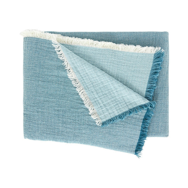 Minorque Emeraude Teal Green Throw with Fringe by Iosis | Fig Linens