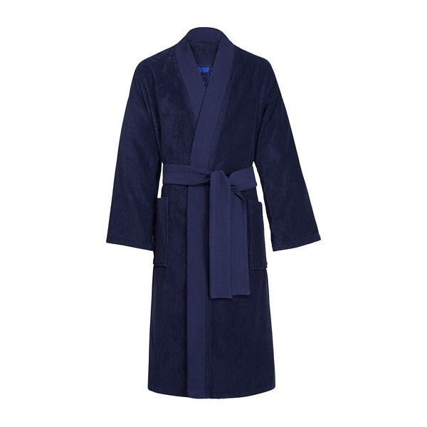 Iconic Navy Kimono Bath Robe by Kenzo | Fig Linens - Front