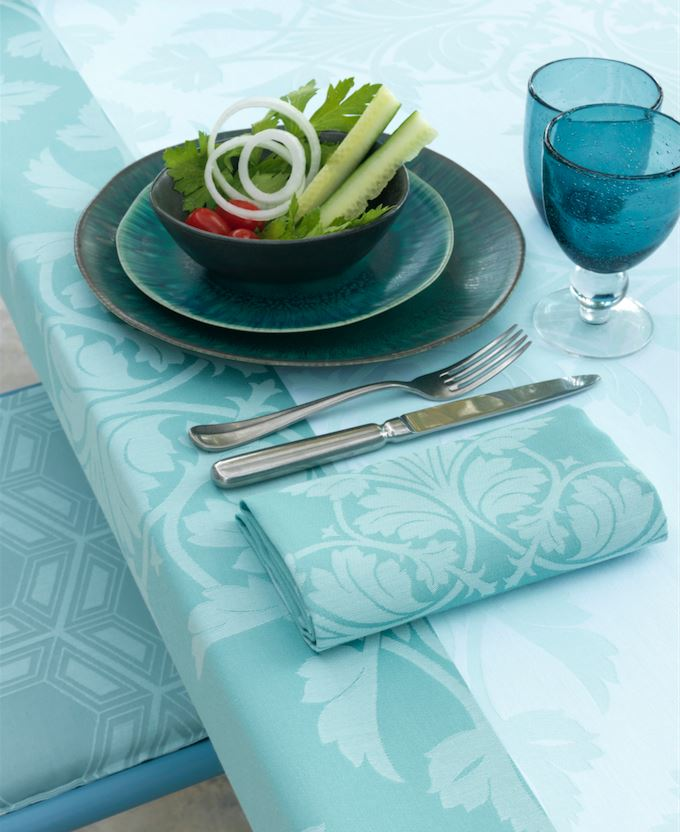 Le Jacquard Français Table Linen Syracuse Aqua  Fig Linens Blue Tablecloth napkin runner
