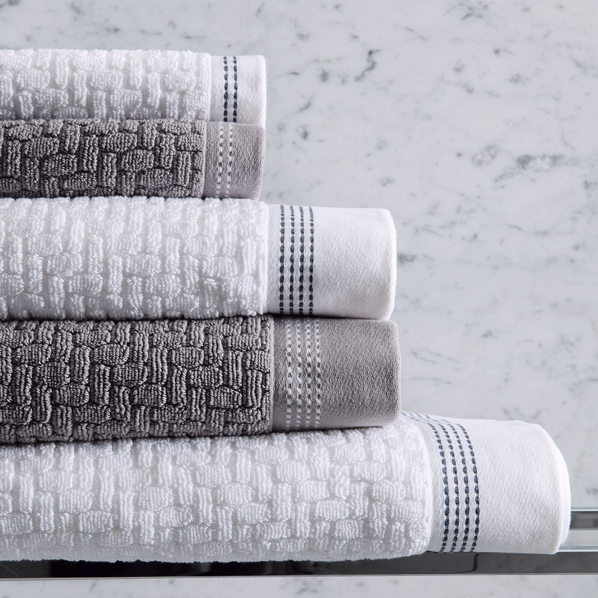 Le Jacquard Français | Couture White Bath Collection | Fig Linens - White, Gray, towels