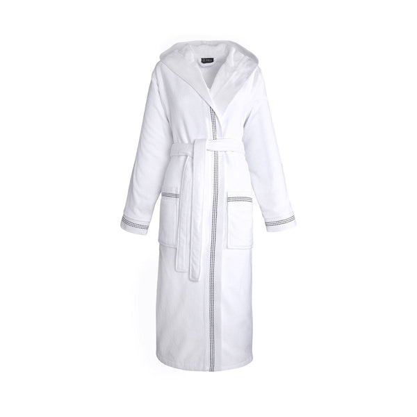 Couture White Bathrobe by Le Jacquard Français | Fig Linens - Bathrobe with hood and belt