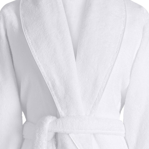 Caresse White Bathrobe by Le Jacquard Français | Fig Linens - Bath Robe with belt and collar