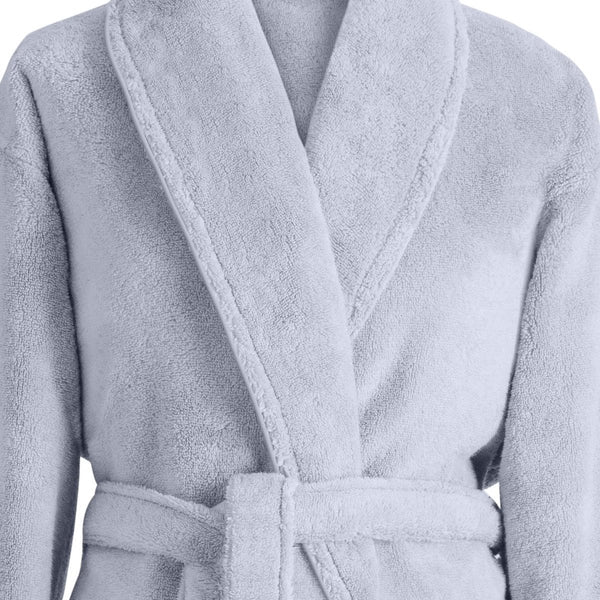 Caresse Cloud Gray Bathrobe by Le Jacquard Français | Fig Linens - Bath Robe collar, belt