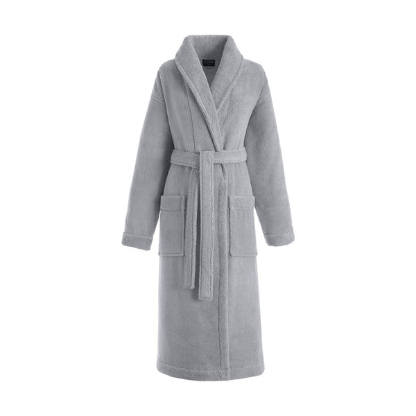 Caresse Pebble Gray Bathrobe by Le Jacquard Français | Fig Linens