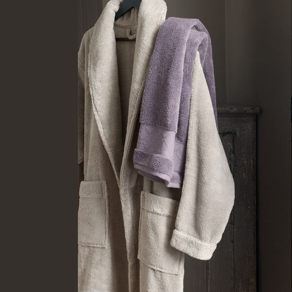 Caresse Linen Beige Bathrobe by Le Jacquard Français | Fig Linens