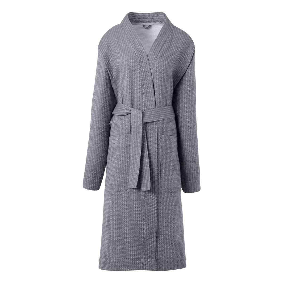 Duetto Caviar Bathrobe by Le Jacquard Français | Fig Linens - Gray Bath Robe with pockets and belt