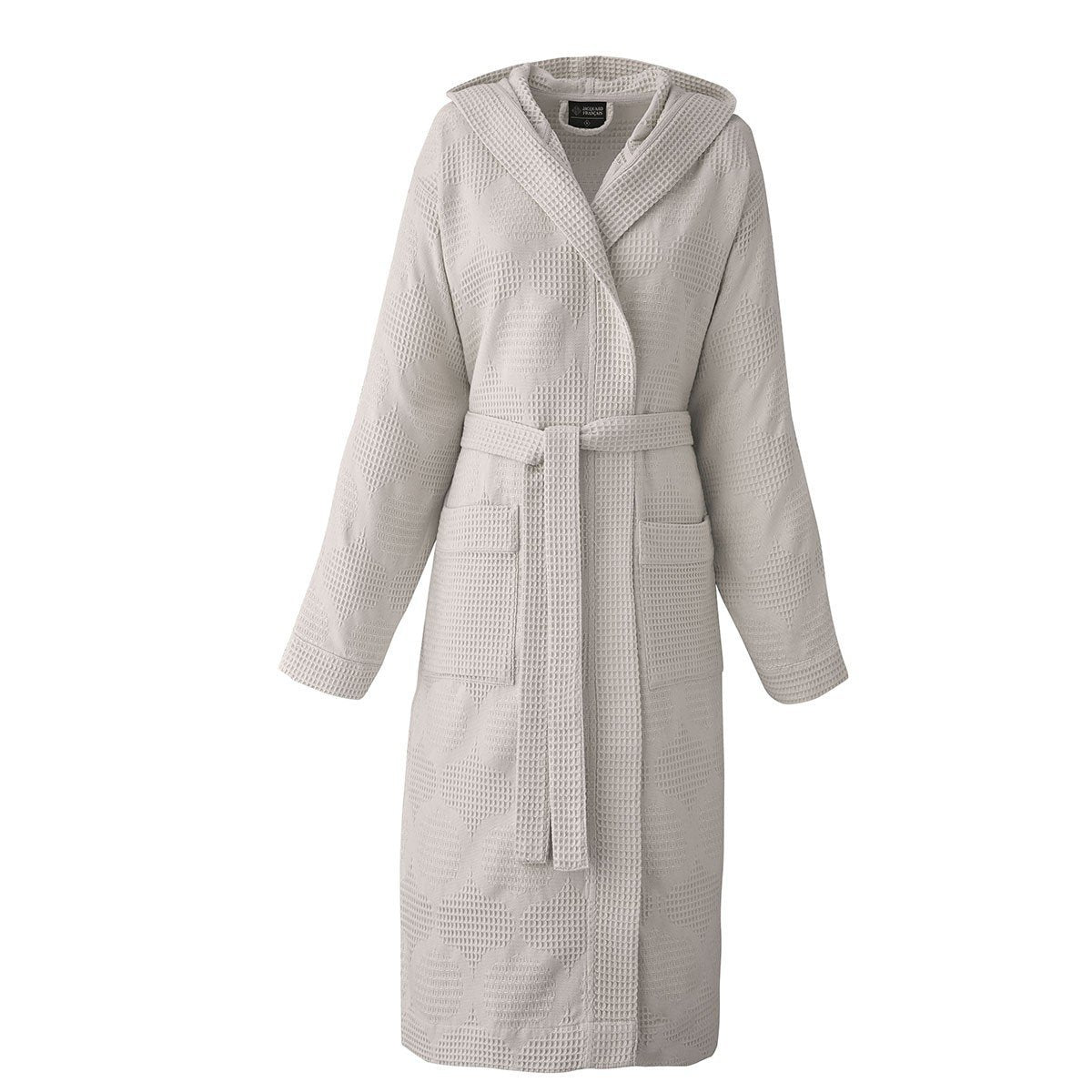 Hera Brown Bathrobe by Le Jacquard Français | Fig Linens - Hooded bath robe, pockets, belt