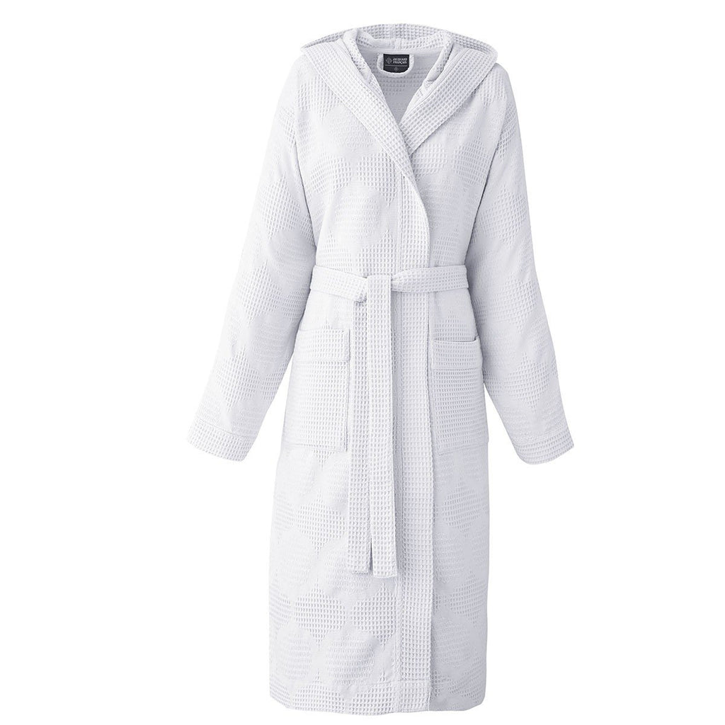 Hera White Bathrobe by Le Jacquard Français | Fig Linens - Hooded bath robe, pockets, belt