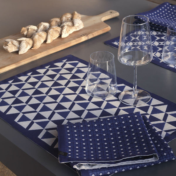 Le Jacquard Français Table Linen Bistronome Placemats - Fig Linens - Blue coated placemat, napkin