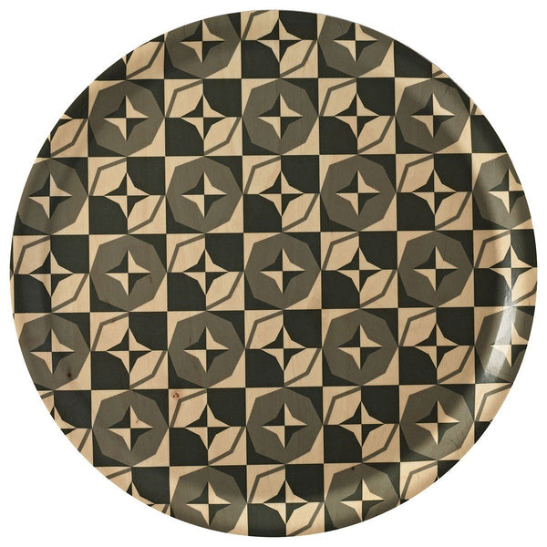 Bistronome Gray Round Wood Tray by Le Jacquard Français | Fig Linens - Serving Tray